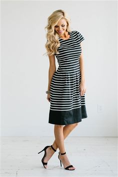 Navy striped dress. I would love this dress with another three inches on the hem!