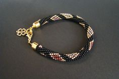Black Gold Bracelet / Beaded Crochet Bracelet / от MonistoJewelry