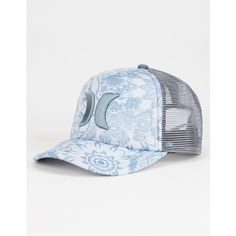 Hurley One & Only Womens Trucker Hat ($25) ❤ liked on Polyvore featuring accessories, hats, heather grey, adjustable hats, hurley hats, snapback hats, snap back hats and hurley