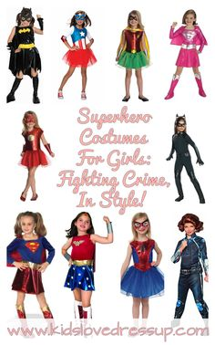 She's going to kick some serious butt in these awesome superhero costumes for girls! Fighting crime alongside the boys and looking great while doing so! Check out these great role play costumes for girls and read all about kids dress up clothes and more at www.kidslovedressup.com! girls dress up clothes, girls costumes, costume ideas girls, superhero costumes girls, dress up superhero girls, girls superhero costumes, superhero dress up, batgirl, wonder woman costume girls, super girl