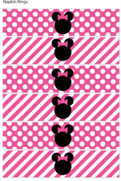 Napkin ring hot pink minnie party printable party digital file