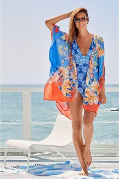 Special Occasion Outfits, Short Kimono, Silk Kimono, Resort Style, Johnny Was, Cover Up, Swimsuits, One Piece, Chic