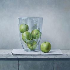 Stilleven met appels in glazen bokaal, 65 x 65 cm, olieverf op linnen