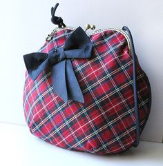 """Сумка и кошелек """"Хочу в Шотландию! """":-) - в клеточку,сумка,сумка на фермуаре"""