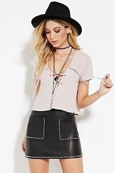 Studded Faux Leather Skirt | Forever 21 #thelatest