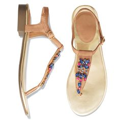 Wherever you go, the forecast calls for style! Leatherlike aux stone-embellished thong sandals with a metallic footbed and buckle on the ankle strap. Features pink, aqua and blue jewels on the strap connecting from toe thong to ankle strap. Half sizes, order one size down.· Cleaning: Wipe with a dry cloth· Imported  FREE Shipping on order of $25+ Coupon code TODAYONLY www.youravon.com/lindabacho #avonrep