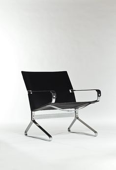 Ingmar Relling; Chromed Steel and Leather 'Tema' Armchair, 1973.