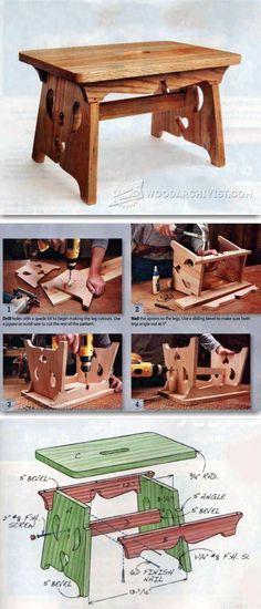 Footstool Plans - Furniture Plans and Projects | WoodArchivist.com #WoodworkingIdeas