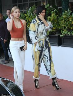 On the scene: Kylie and Hailey were a stylish pair as they strolled down the sidewalk