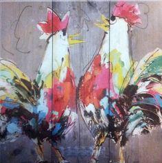 ST0491B schilderij kippen steigerhout diverse afmetingen -  kopen bij mooiaandemuur.com