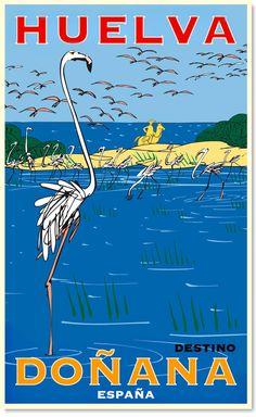 """Diseño gráfico de Oscar Mariné.. En 1969 se creó por decreto el Parque Nacional de Doñana, parte de cuyo territorio era propiedad del MEC y parte, aún en manos privadas. Diez años después se amplió el espacio protegido y se creó el llamado """"Preparque de Doñana"""". En 1980 la Unesco clasificó el Parque Nacional de Doñana como Reserva de la Biosfera.. #Spain"""