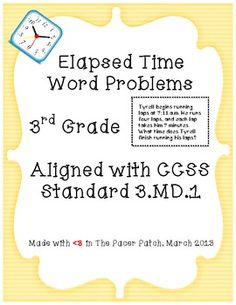 Elapsed time word problems! Ten unique word problems you can use for task cards, small groups, deck-style partner quizzing, or incorporated into an assessment! Aligned with 3.MD.1!