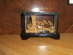 Glass Encased Cork Diorama, Asian / Chinese