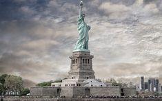 Download wallpapers Statue of Liberty, monument, Liberty Enlightening the World, New York, american landmarks, USA, America, Manhattan, NYC