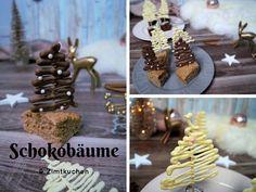 Ich habe wieder ein wenig experimentiert und dabei sind Schokoladenbäume und ein leckerer Zimtkuchen entstanden. Gingerbread Cookies, Food Art, Bakery, Deserts, Place Card Holders, Sweet, Christmas, Muffins, Christmas Decor