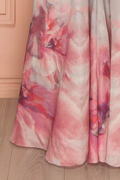 Dalila - Grey maxi dress with pink floral print