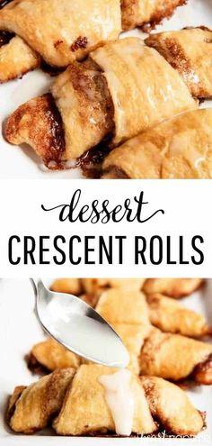 Köstliche Desserts, Delicious Desserts, Yummy Food, Plated Desserts, Cinnamon Desserts, Cinnamon Recipes, Sweet Desserts, Cinnamon Sugar Crescents, Crescent Cinnamon Rolls