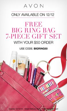 On December 12th this exclusive Big Ring Bag & 7 giftable goodies are yours with any $50 purchase from my eStore, with this exclusive code! Use code: BIGRING50 http://eseagren.avonrepresentative.com #Avon #sale #freegift #beauty #coupon