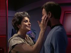 Star Trek Season 1 Episode 1 - The Man Trap (8 Sep. 1966), Nancy Crater (Jeanne Bal) and Dr. McCoy (DeForest Kelley)