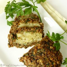 Vegan - Lentil and Mushroom Loaf with Savoury Potato Filling (deffos making this next Thanksgiving or maybe for Christmas! Not a big mushroom fan but could omit those. Overall sounds much better than non-meat meats. This recipe is highly recommended across the web with rave reviews!)