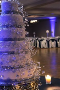 """Image detail for -simple but very elegant wedding cake for a """"bling"""" themed reception ..."""