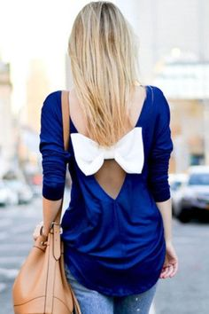 Solid color Backless bowknot blouse – WOMENPOP