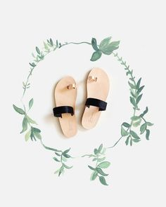 Black pony and rose gold Persephone Greek sandals