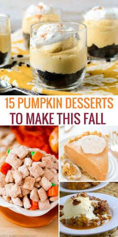 If you're a fan of pumpkin desserts, you'll love this list of recipes to make this Fall! Nothing beats a pumpkin latte, pumpkin spice muffins & other sweets Pumpkin Spice Muffins, Baked Pumpkin, Pumpkin Recipes, Fall Recipes, Holiday Recipes, Desserts To Make, Great Desserts, Delicious Desserts, Dessert Recipes
