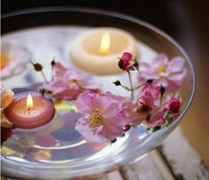 Floating candles and flowers, indoor pond