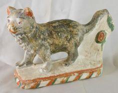 Early American Folk Art Chalkware Tabby Cat Figure