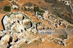 Aerial view of archaeological site, Megalithic Temple of Mnajdra , UNESCO World Heritage Site, Malta, Europe