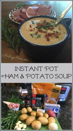 Instant Pot ham & potato soup is a delicious and easy electric pressure cooker potato soup recipe using leftover ham & fresh rosemary. Pressure Cooker Potatoes, Instant Pot Pressure Cooker, Pressure Cooker Recipes, Pressure Cooking, Pressure Pot, Ham And Potato Soup, Ham Soup, Cheese Potatoes, Soup Recipes