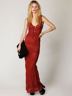 """Free People Gialos Knitted Maxi Dress,    Knitted maxi tank dress with deep """"V"""" lace up front. Deep """"V"""" back. Scalloped hems. *100% Cotton  *Import   Measurements for Size Small:  Length: 56""""  Bust: 28""""  Waist: 26""""  Bottom Opening: 42"""""""