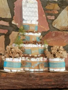 Rustic 4-Tier Diaper Cake  with 2  single layer cakes