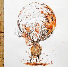 deer painting by LuqmanReza. Read full article: http://webneel.com/daily/deer-painting-luqmanreza | more http://webneel.com/paintings | Follow us www.pinterest.com/webneel