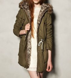 Likewise cap draw string even long trench coat cotton-padded jacket  from leafbeyond