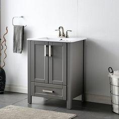 "Breakwater Bay Modern 24.6 inches single white bathroom vanity set with ceramic sink Base Finish: Gray   Breakwater Bay Landreth 25"" Single Bathroom Vanity Set Base Finish: Gray, Wood/Ceramic Top, Size 31""H X 23""W X 18""D   Wayfair Vanity Cabinet, Vanity Sink, Cabinet Handles, 24 Inch Bathroom Vanity, White Bathroom, Hall Bathroom, Bathroom Vanities, Mirror Backsplash, Rack Design"