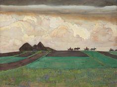 Konstantin Iuon (Russia 1875-1958): Golden Clouds, 1908, watercolour, pencil and gouache on board 47 x 62 cm.