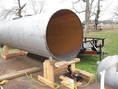 how to make smoker out of propane tank - Google Search Bar B Que Grills, Build Your Own Smoker, Smoker Designs, Bbq Smoker Trailer, Propane Smokers, Offset Smoker, Texas Bbq, Barbecue Grill, Grilling