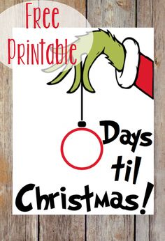 Use this FREE Grinch printable to help your family count down to Christmas! Use this FREE Grinch printable to help your family count down to Christmas! Just stick the sheet in Grinch Party, Grinch Christmas Party, Office Christmas, Christmas Holidays, Countdown To Christmas, Christmas Calendar, Christmas Nativity, Christmas Carol, Christmas Decorations For Classroom