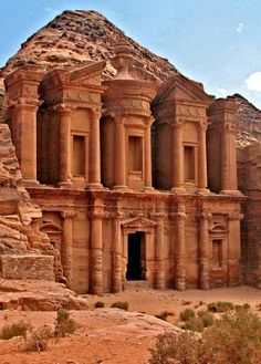 Petra, Lost rock city of Jordan. Petra's temples, tombs, theaters and other buildings are scattered over 400 square miles. UNESCO world heritage site and one of The New 7 Wonders of the World. #monogramsvacation