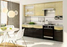 Smile szafki kuchenne w połysku zestaw do kuchni czarno złote meble kuchnia