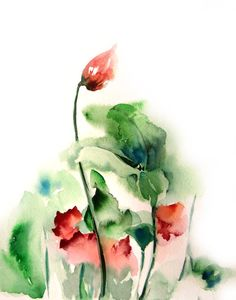 Red Flowers with Green Leaves, Watercolor Painting Art Print, Watercolour Modern Art