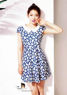 Cute dress, love the hair up - Park Shin Hye