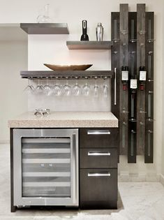 wine bar with humidor kitchen contemporary with wine bottle rack plastic acrylic kitchen islands and carts Home Bar Decor, Coffee Bar Home, Diy Home Bar, Home Bar Designs, Wine Fridge, Custom Floating Shelves, Home Wine Bar, Contemporary Kitchen, Wall Spice Rack