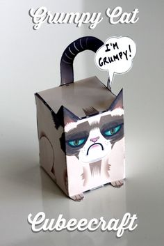 Grumpy Cat Cubeecraft Printable. Download the template to make your own! #grumpycat #cubeecraft | CatchMyParty.com