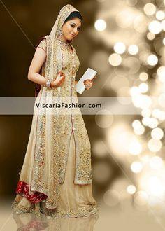 gold and beige wedding   Beige Pakistani Bridal Wear Sharara Bridal Dresses Pakistani Formal ...