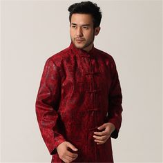 Chinese Coat: SALE Hot Sale Red Chinese Men Traditional Tang Sui... Chinese Man, Kung Fu, Fall Winter, Autumn, Winter Jackets, Men Casual, Shirt Dress, Suits, Coat Sale
