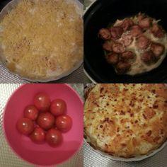 Aardappel ovenschotel. Schaal invetten met olie/knoflookmix, voorgekookte aardappelschijfjes, room-cremefraiche mengsel erover, laag kaas en onder grill tot goudbruin.   Gehaktballen en tomaat erbij smakelijk