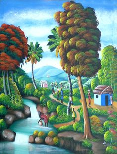 "Haitian Art, Haitian Painting, Canvas Art, Haitian Village Scene, Hand Painted Canvas Painting, Original Art of Haiti - 20"" x 24"" by TropicAccents on Etsy"